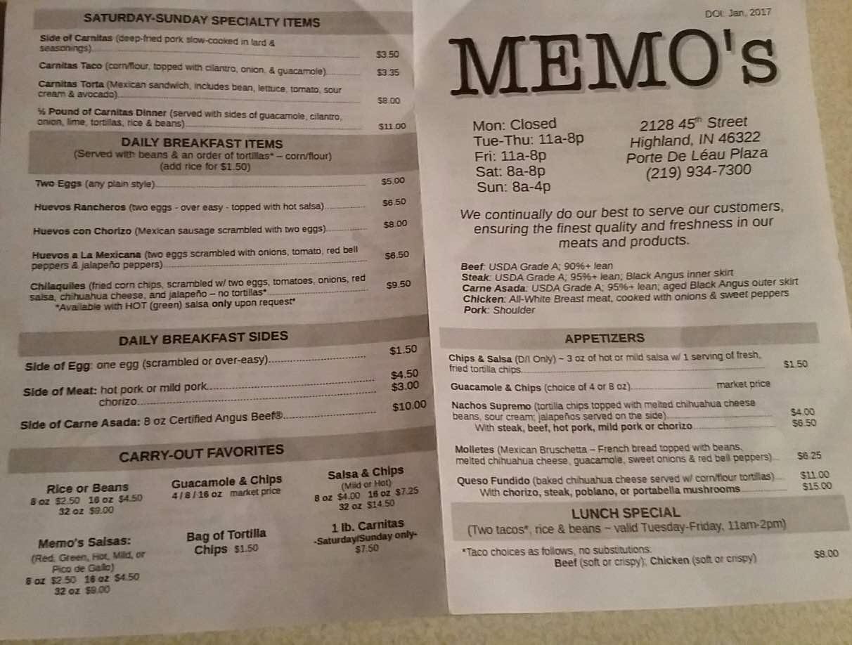 online menu of memo s taco mex restaurant highland indiana 46322
