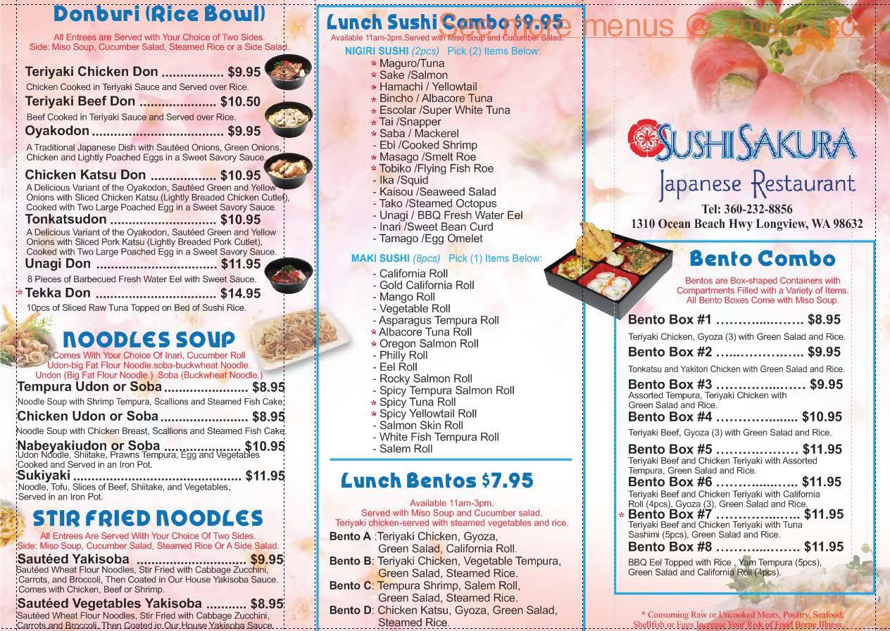 Image gallery sakura menu for Akina japanese cuisine menu