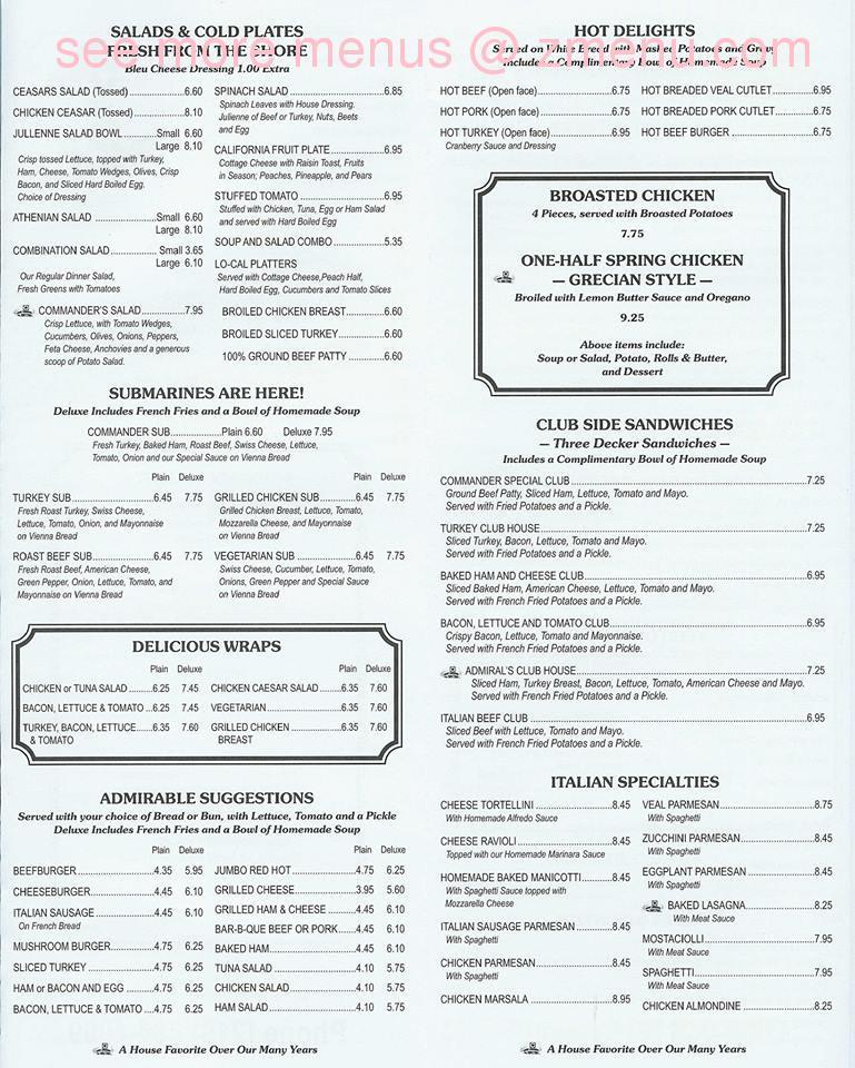The Commander Restaurant Munster In Menu
