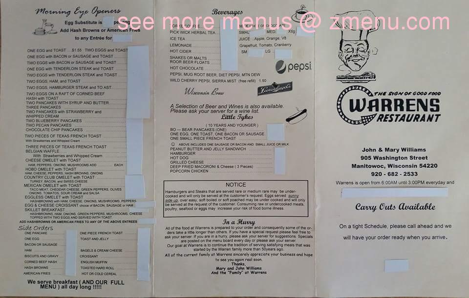 Online Menu Of Warrens Restaurant Restaurant Manitowoc Wisconsin