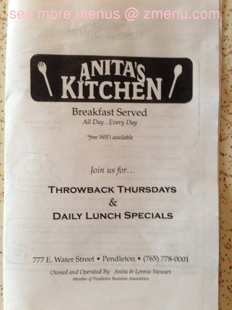 Online Menu Of Anitas Kitchen Restaurant Pendleton Indiana