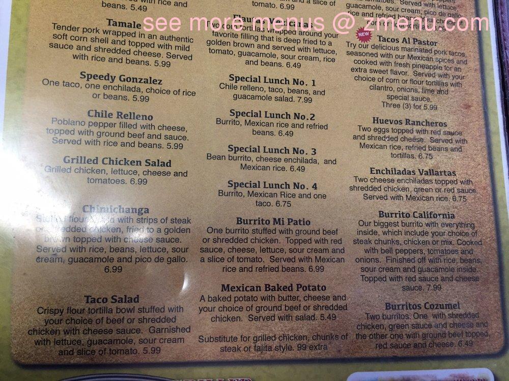 Online Menu of Mi Patio Restaurant, Petersburg, Indiana, 47567 - Zmenu