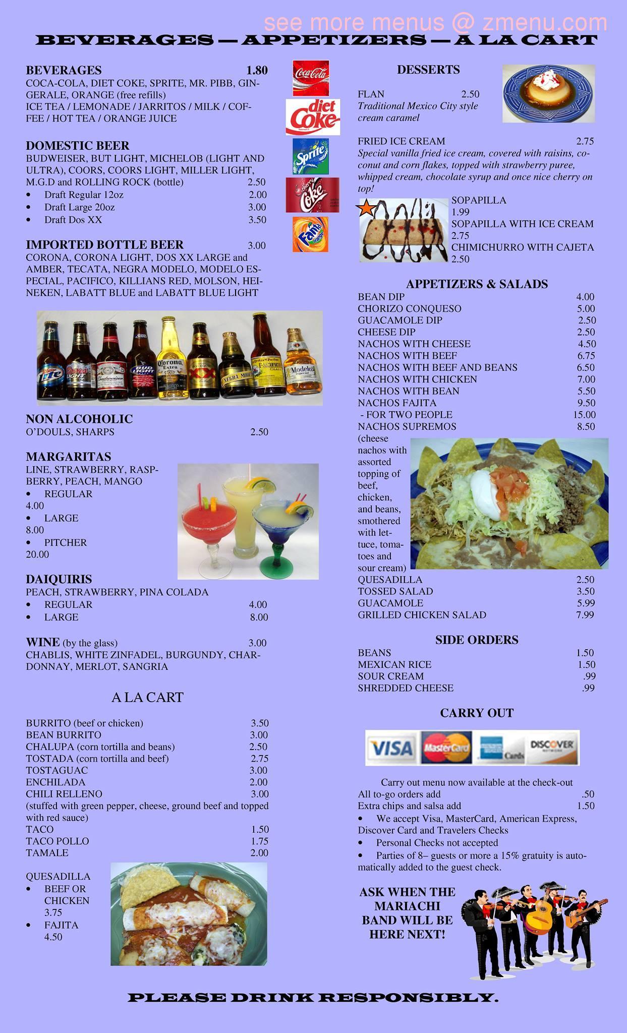 Online Menu Of Mi Camino Real Restaurant Plymouth Indiana 46563