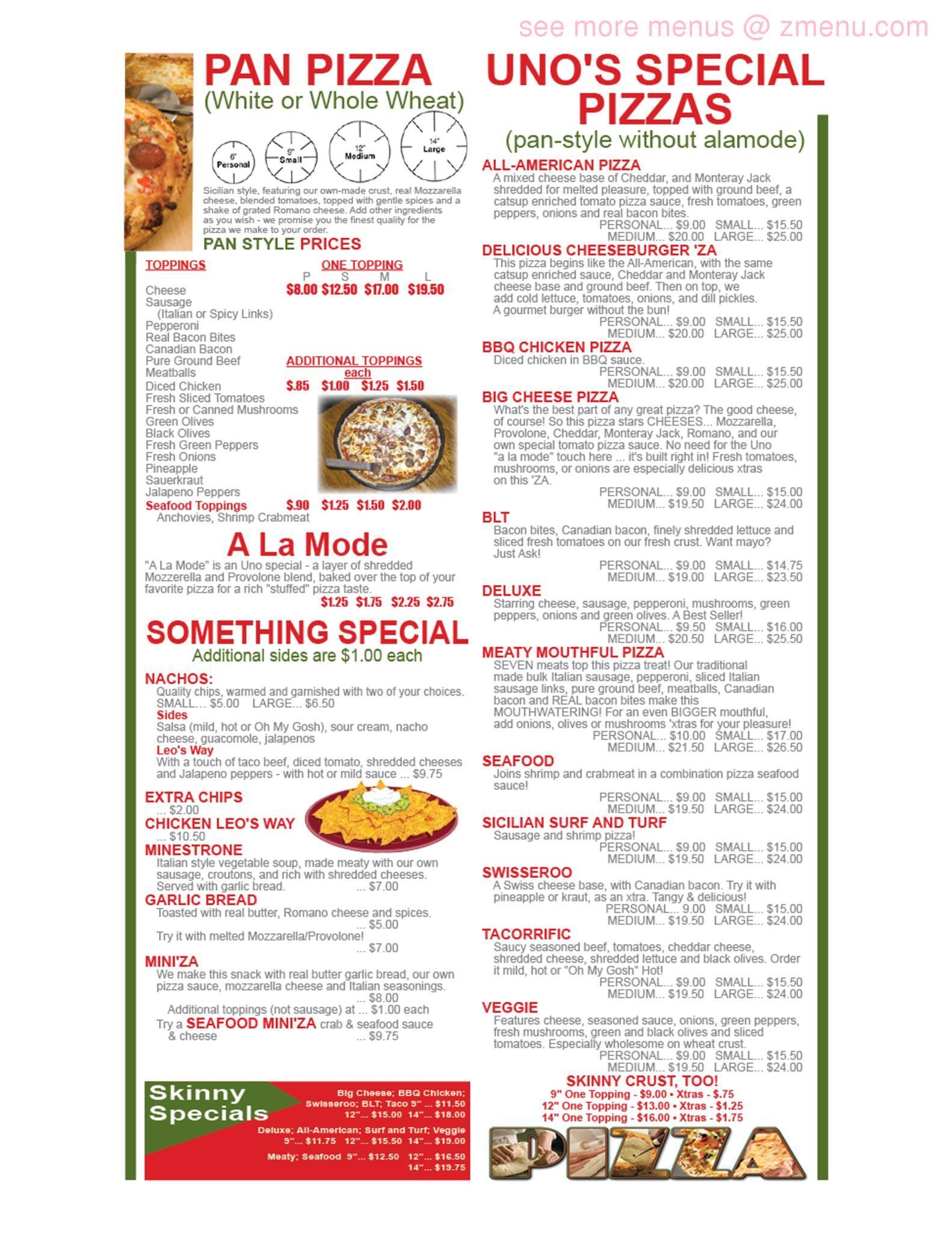 Online Menu Of Pizzeria Uno Restaurant Platteville