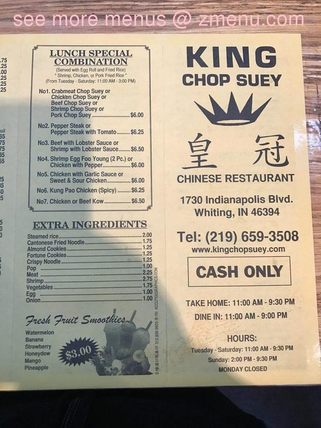 online menu of king chop suey restaurant whiting indiana