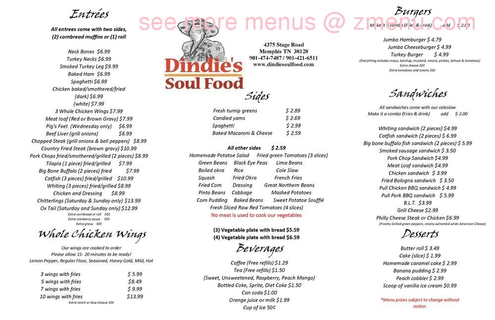 Online Menu Of Din S Soul Food Restaurant Memphis Tennessee