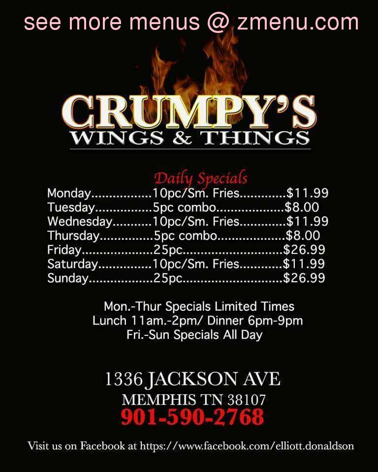 Southern Tennessee >> Online Menu of Crumpy's Hot Wings Restaurant, Memphis, Tennessee, 38128 - Zmenu