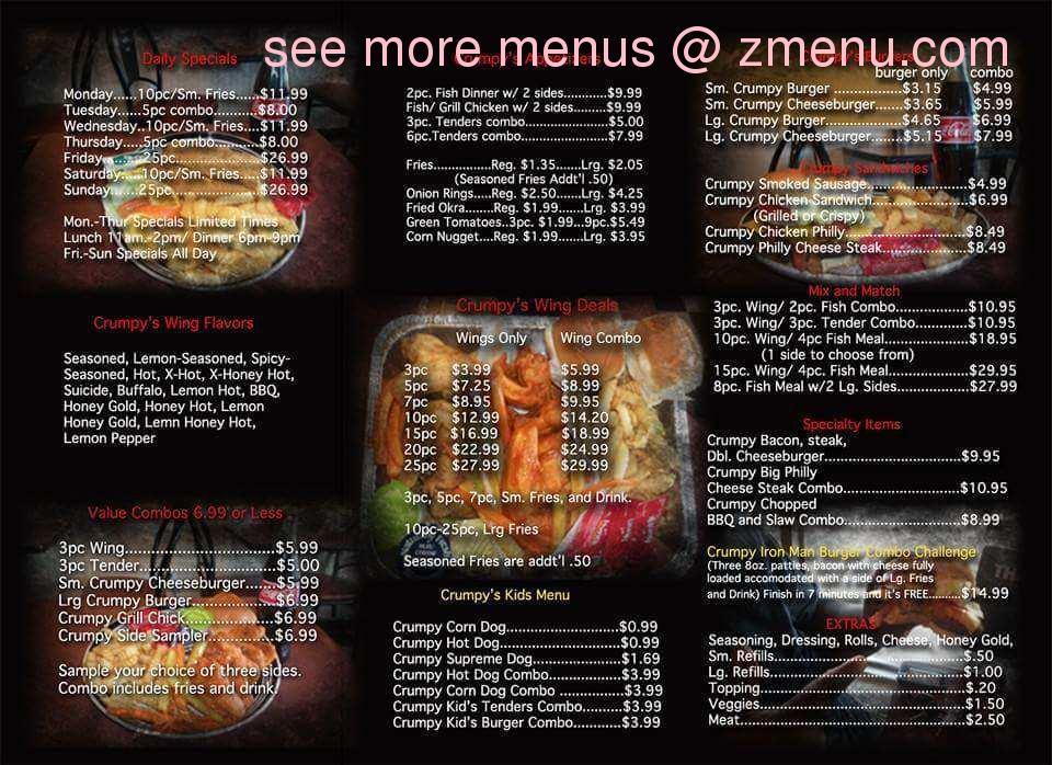 online menu of crumpy u0026 39 s hot wings restaurant  memphis  tennessee  38128