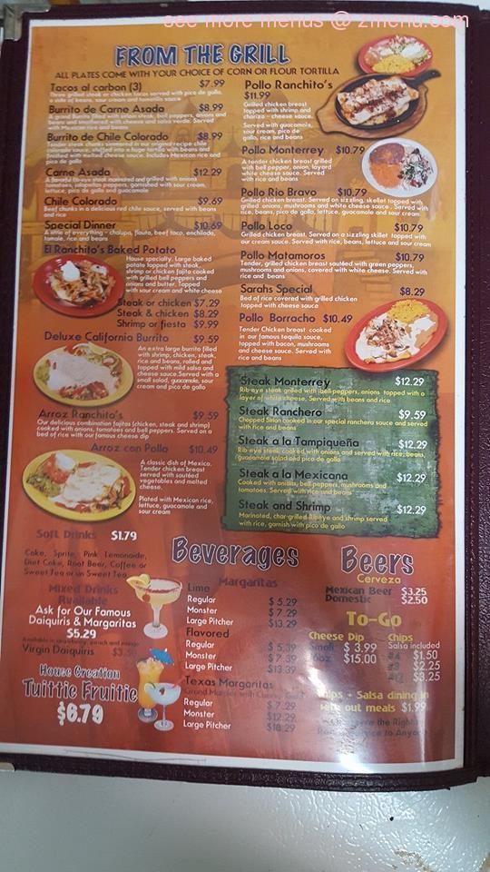 Online Menu of El Ranchitos Restaurant, Brownsville ...