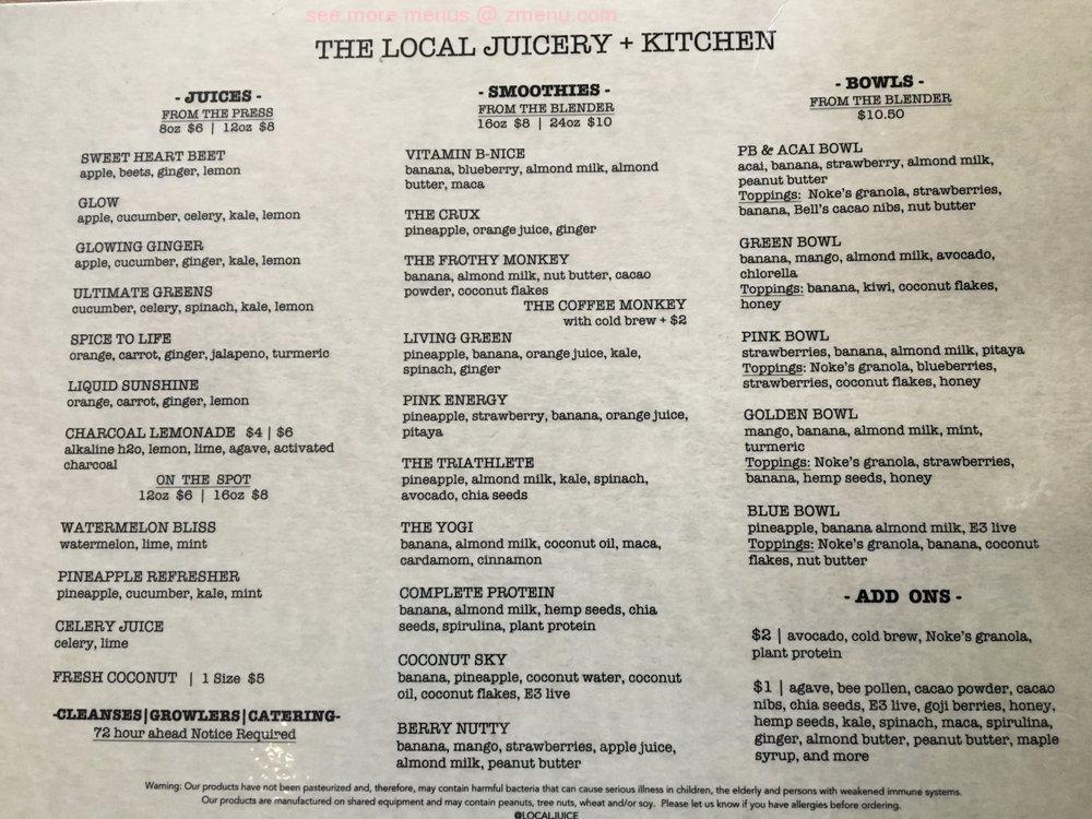 Online Menu Of The Local Juicery Kitchen Restaurant Chattanooga Tennessee 37408 Zmenu