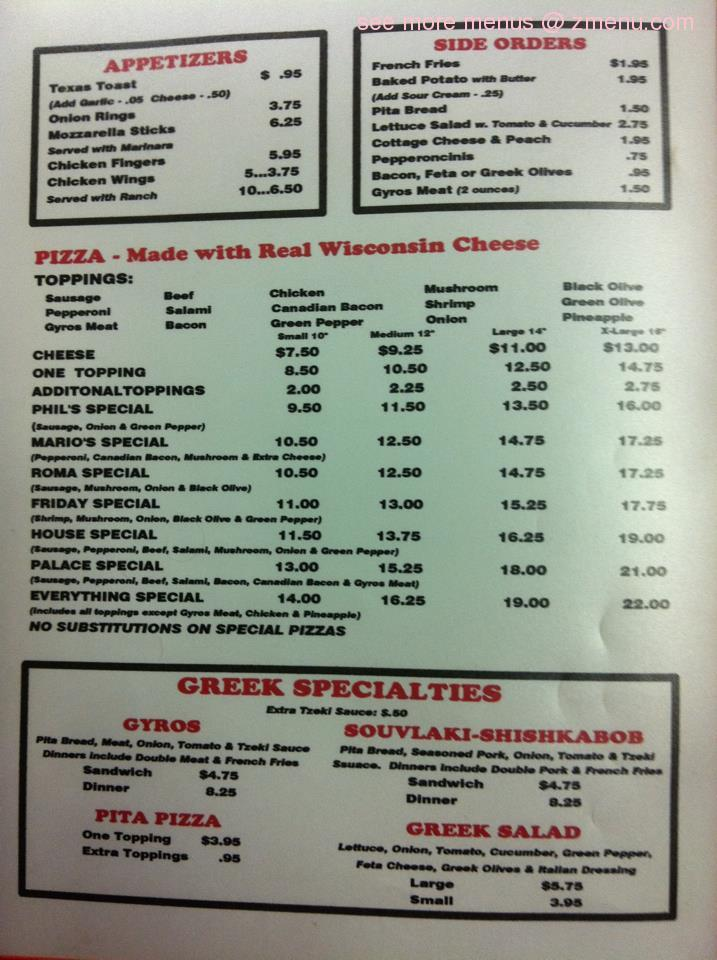 Online menu of phil 39 s pizza palace inc restaurant for Phil s fish grill