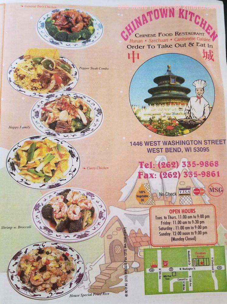 Online Menu Of Chinatown Kitchen Restaurant West Bend Wisconsin