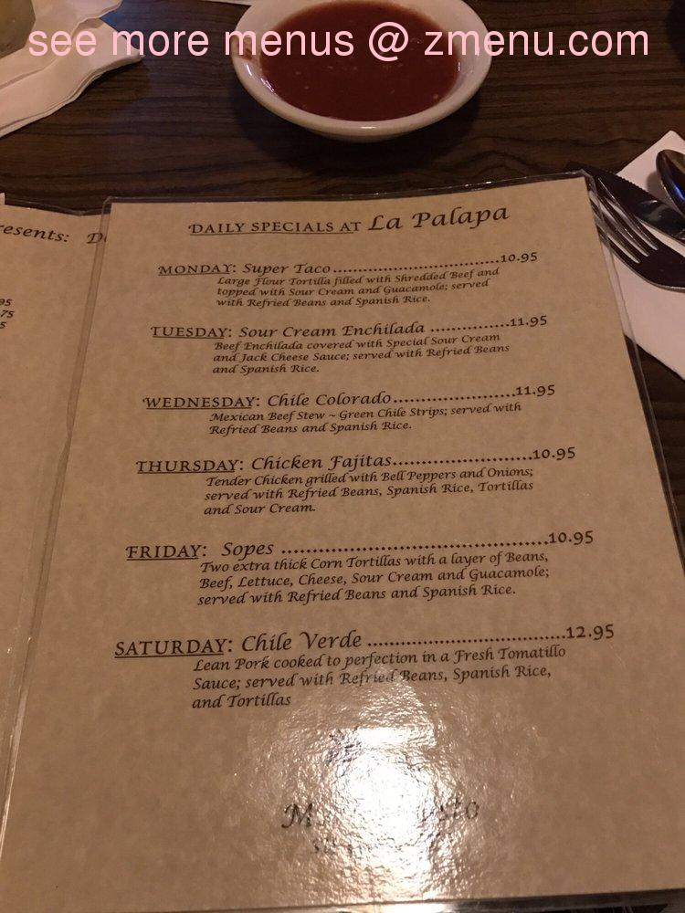 Online Menu Of La Palapa Mexican Restaurant Amp Cocktails