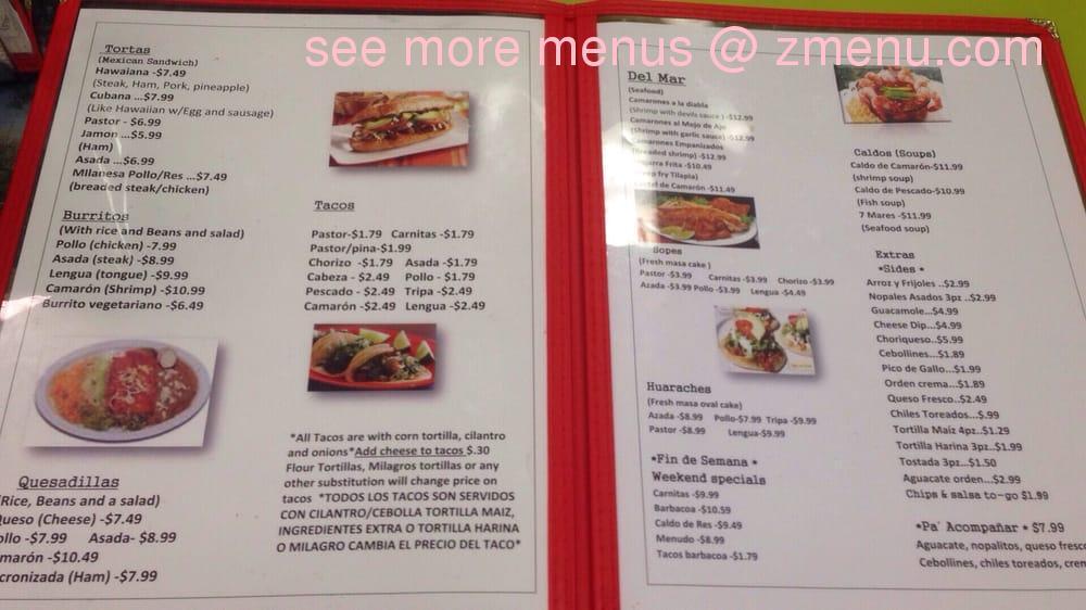 Online Menu Of Mi Pueblo Restaurant Knoxville Tennessee 37919 Zmenu