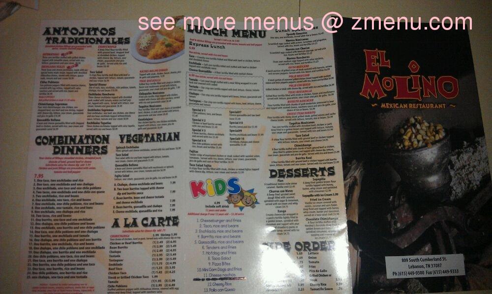 El Molino Mexican Restaurant Menu Lebanon Tn