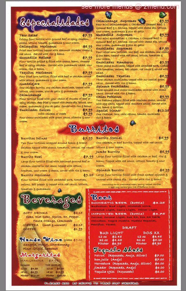 Las Maracas Mexican Restaurant Menu