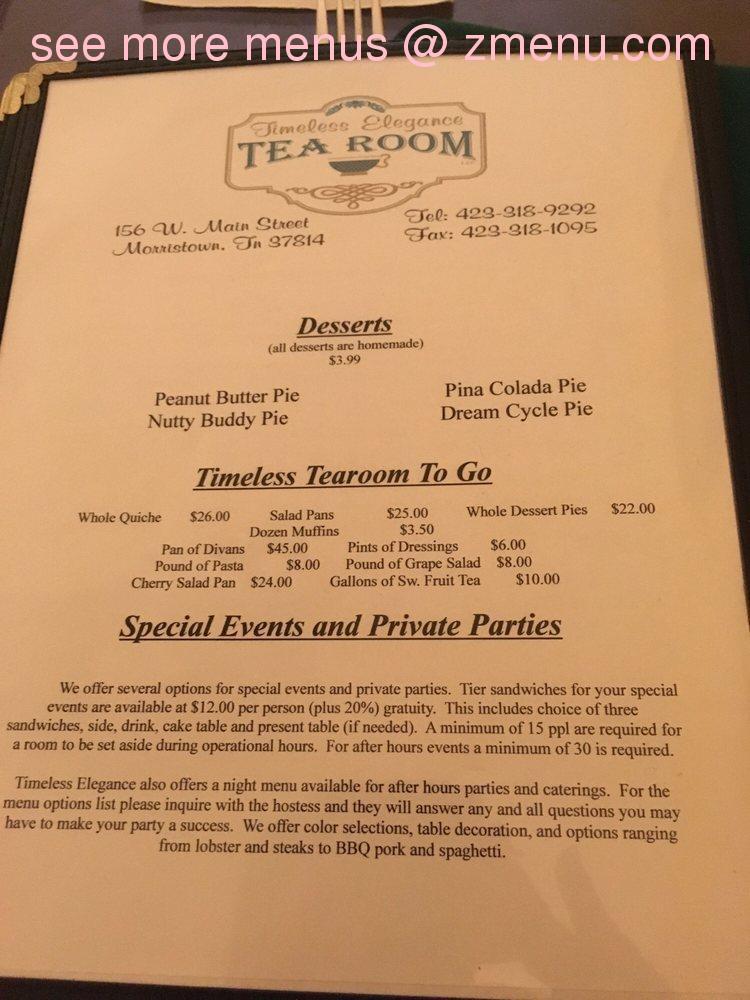 Online Menu Of Timeless Elegance Tea Room Restaurant