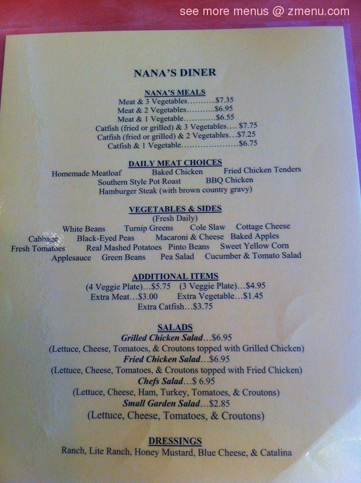 Online menu of nana 39 s diner meat three restaurant for Dining in nolensville tn