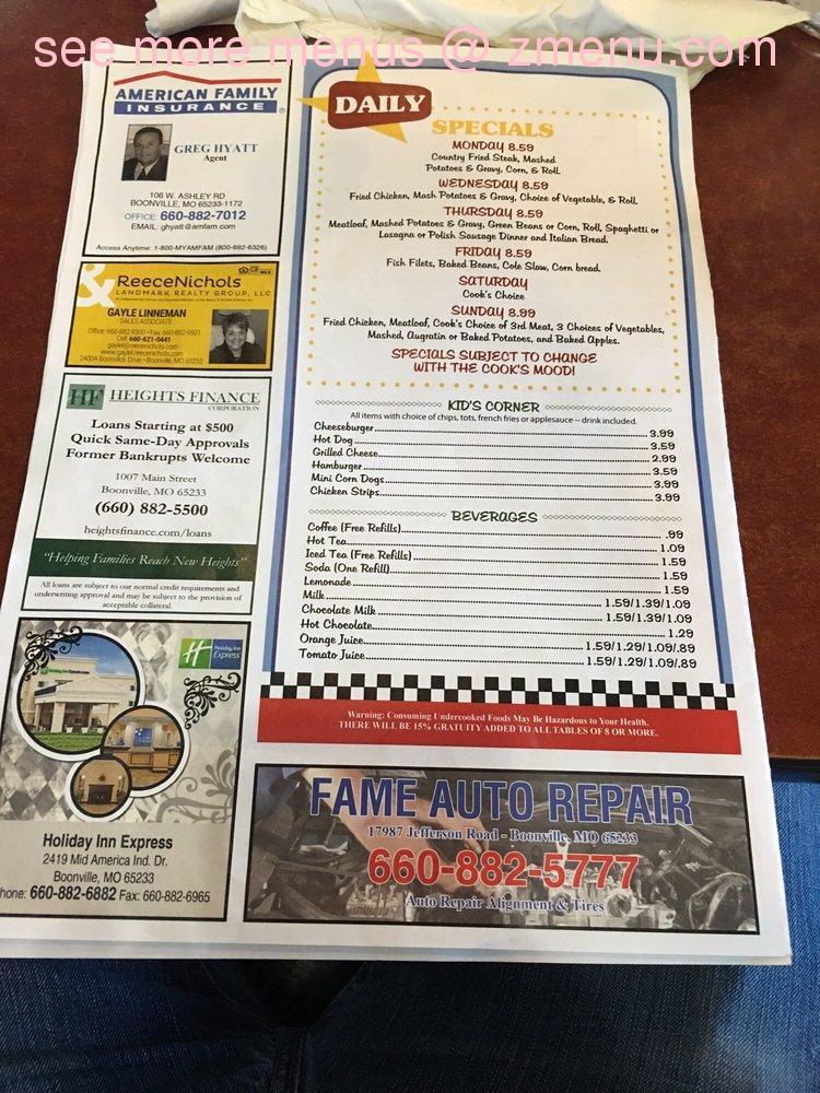 online menu of 87 diner restaurant boonville missouri