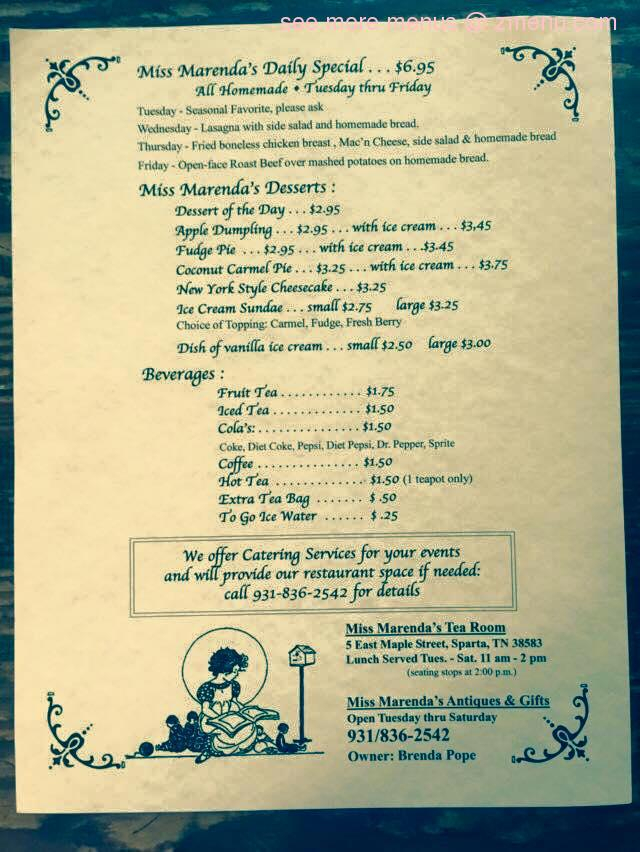 Online Menu Of Miss Marendas Tea Room Restaurant Sparta