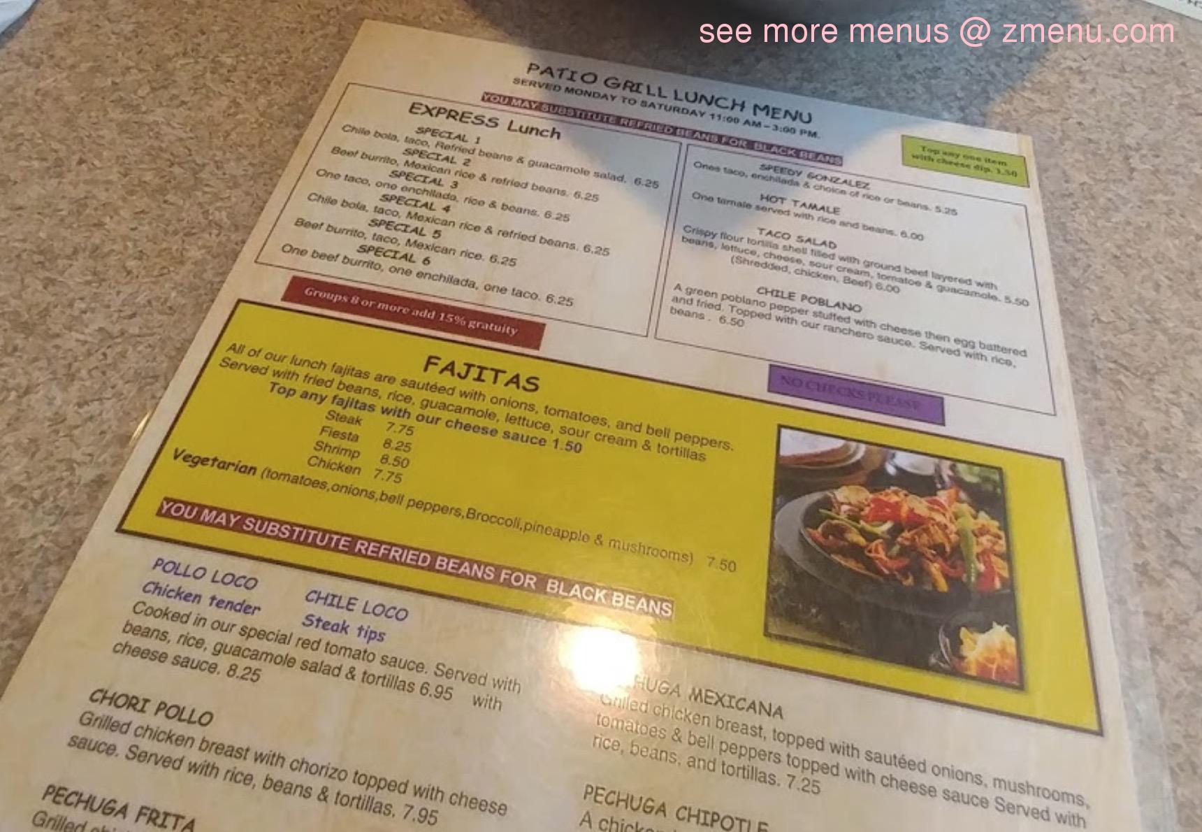 Online Menu Of Patio Grill Restaurant, Union City