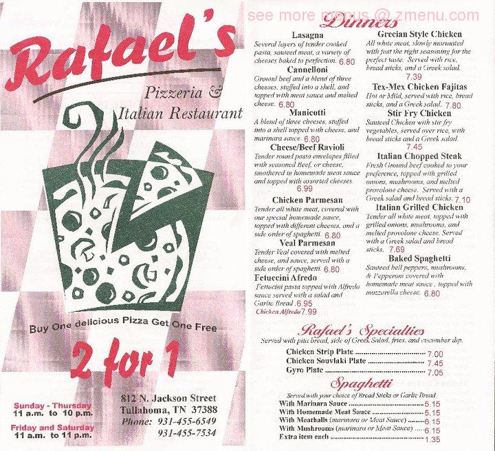 Online Menu Of Rafaels Italian Restaurant Restaurant