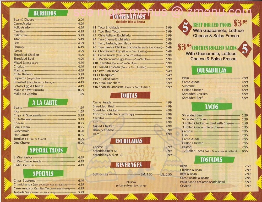 Leo S Mexican Food Menu