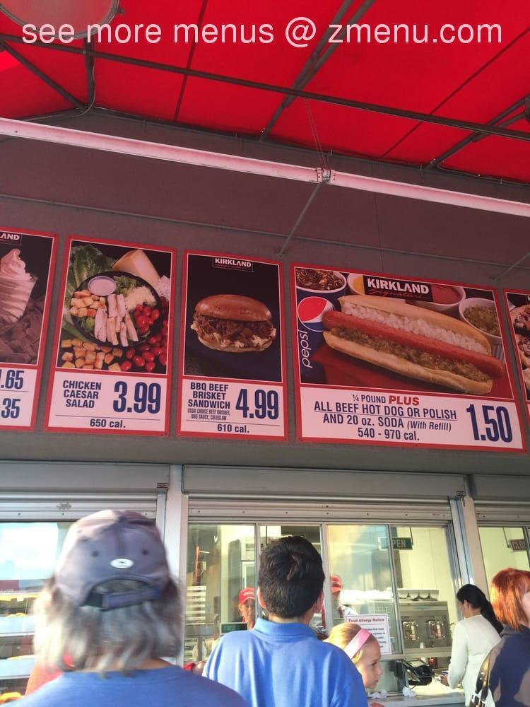Online Menu of Costco Food Court Restaurant, Santee