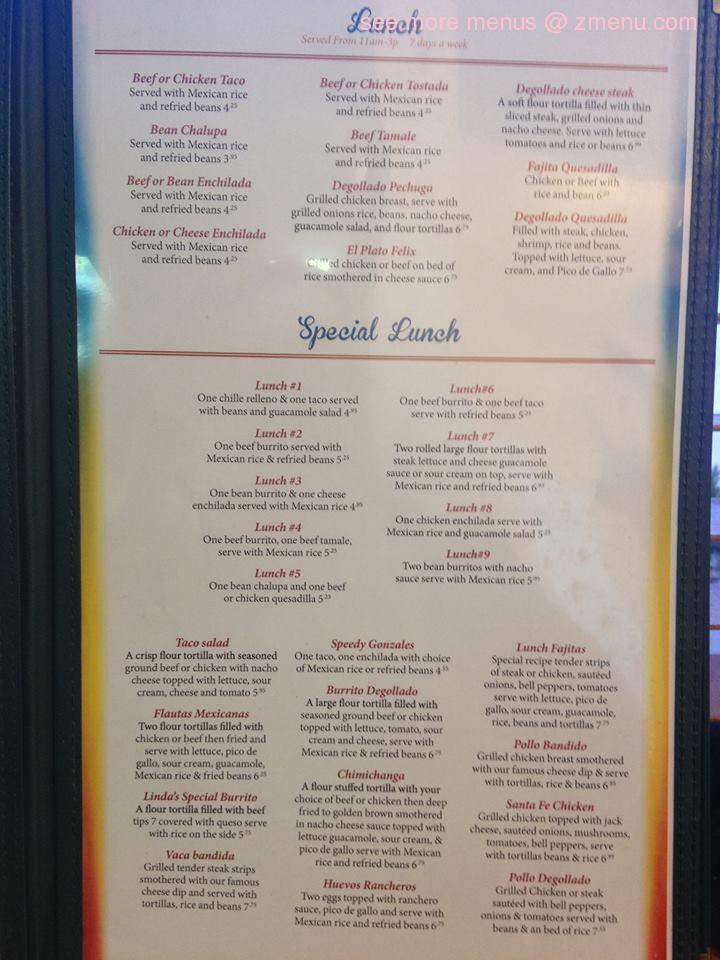 Mi Degollado Mexican Restaurant Jefferson City Mo Menu