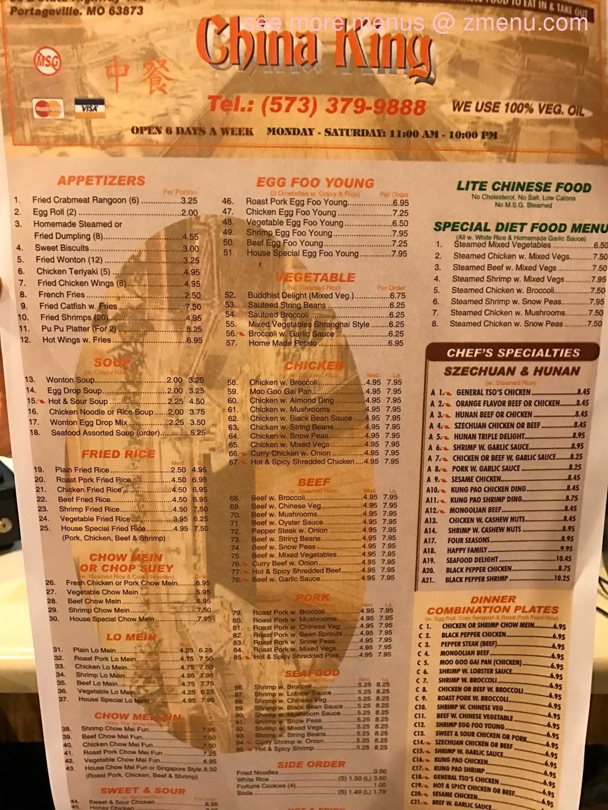 Online Menu Of China King Restaurant Portageville Missouri 63873 Zmenu