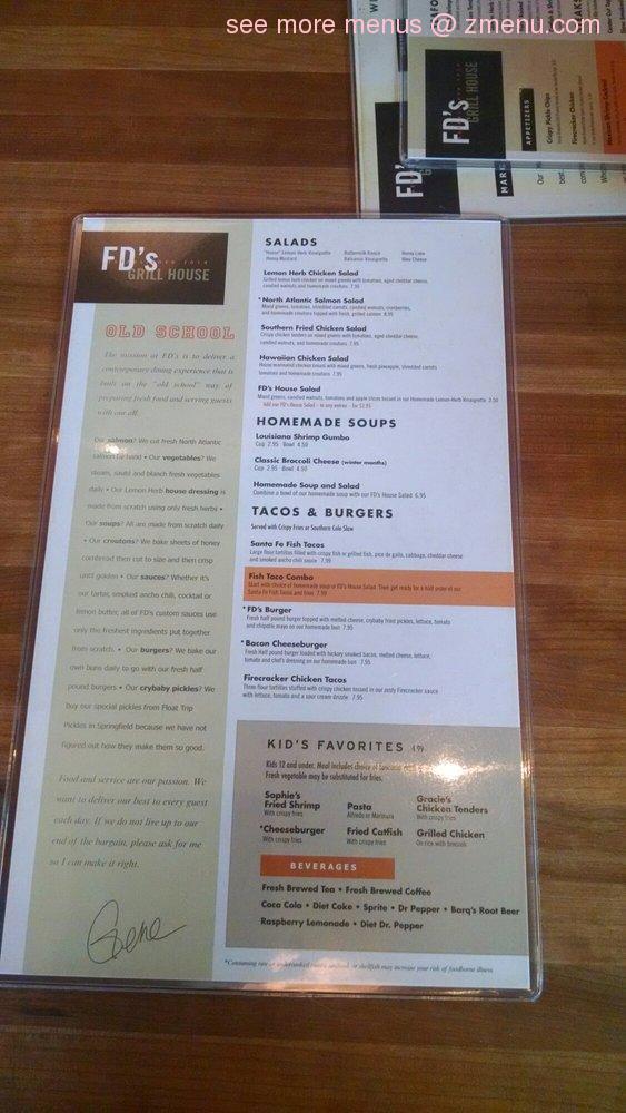 Fd Restaurant Menu Springfield Missouri