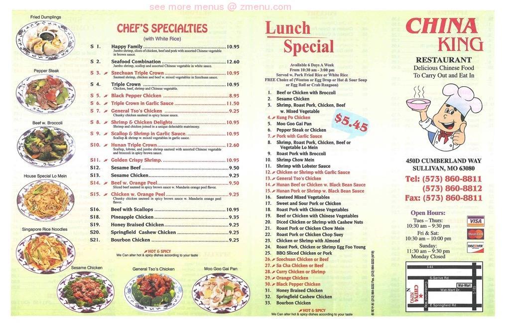 Online Menu Of China King Sullivan Restaurant Sullivan Missouri 63080 Zmenu