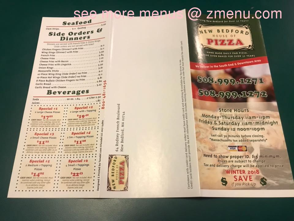 Online Menu Of New Bedford House Of Pizza Restaurant New Bedford