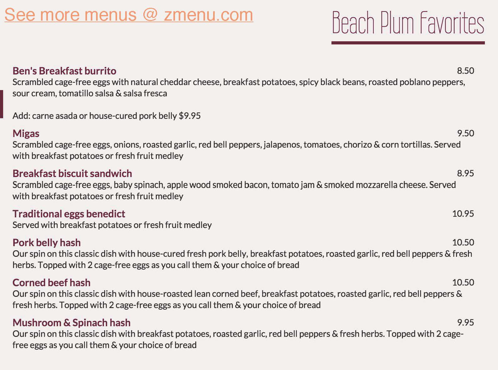 Online Menu of Beach Plum Kitchen Restaurant, Carlsbad, California ...