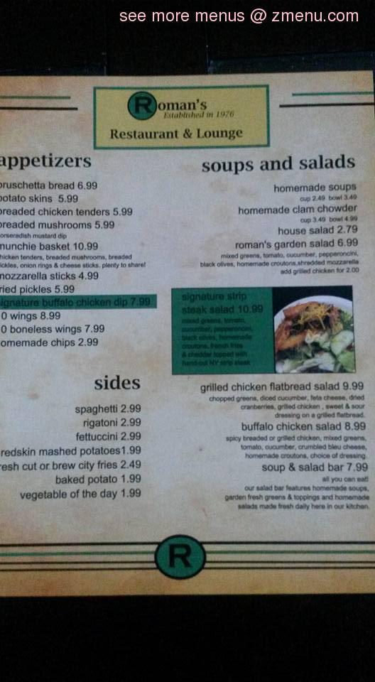 Online Menu of Romans IV Restaurant & Lounge Restaurant, Madison ...