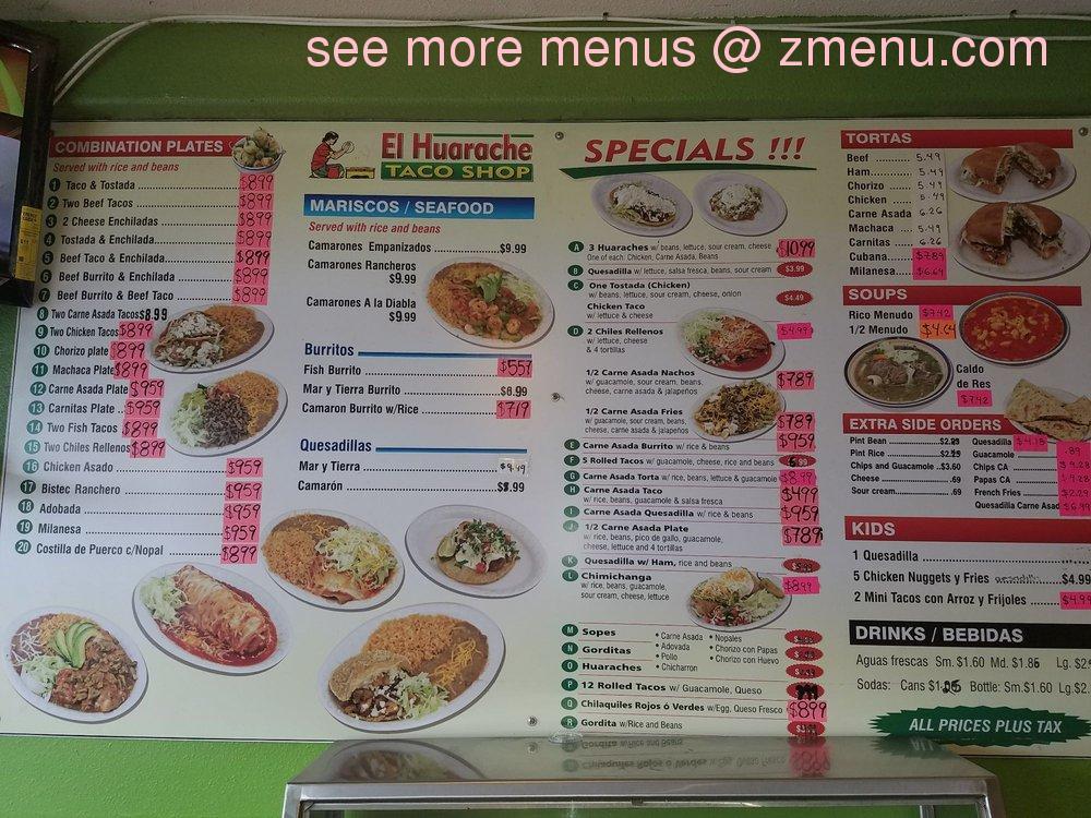 Online Menu of El Huarache Taco Shop Restaurant, Escondido ...