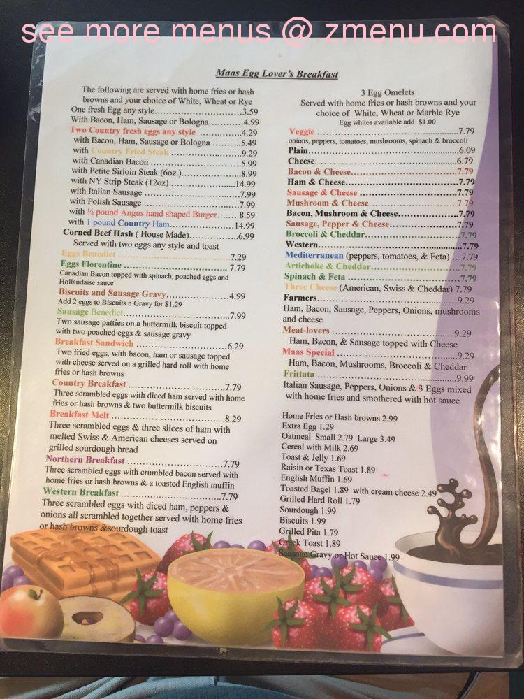 Online Menu of Maas Diner Restaurant, Webster, New York