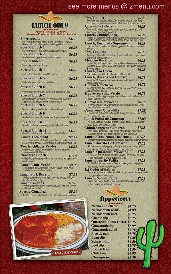 La Hacienda Mexican Restaurant Menu Bensalem Pa