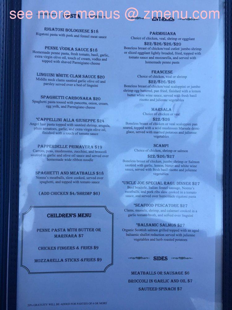 Online Menu of La Terrazza Restaurant, Belmar, New Jersey, 07719 - Zmenu