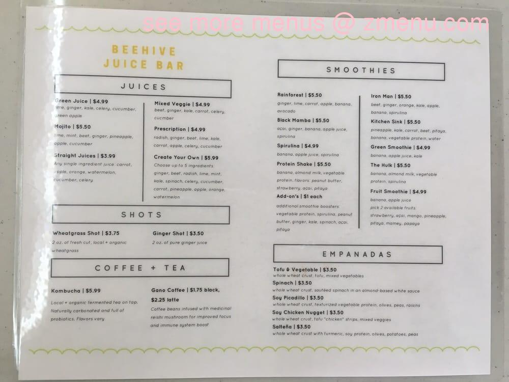 Online Menu Of Beehive Juice Bar Restaurant Miami Florida 33155 Zmenu