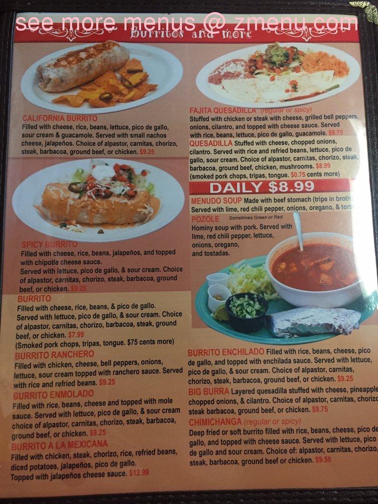 Online Menu of Huaraches Moroleon Restaurant, Urbana ...