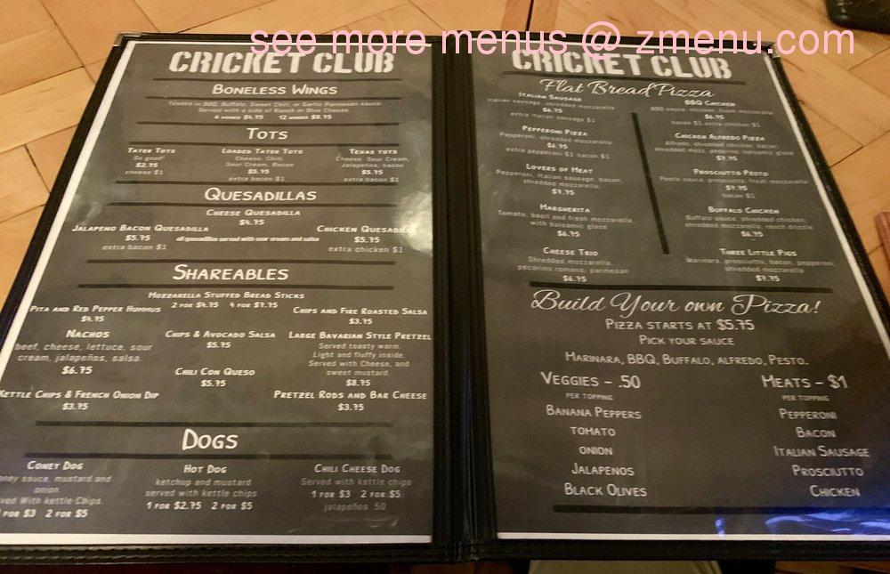 Online Menu Of Cricket Club Restaurant Battle Creek Michigan 49017 Zmenu