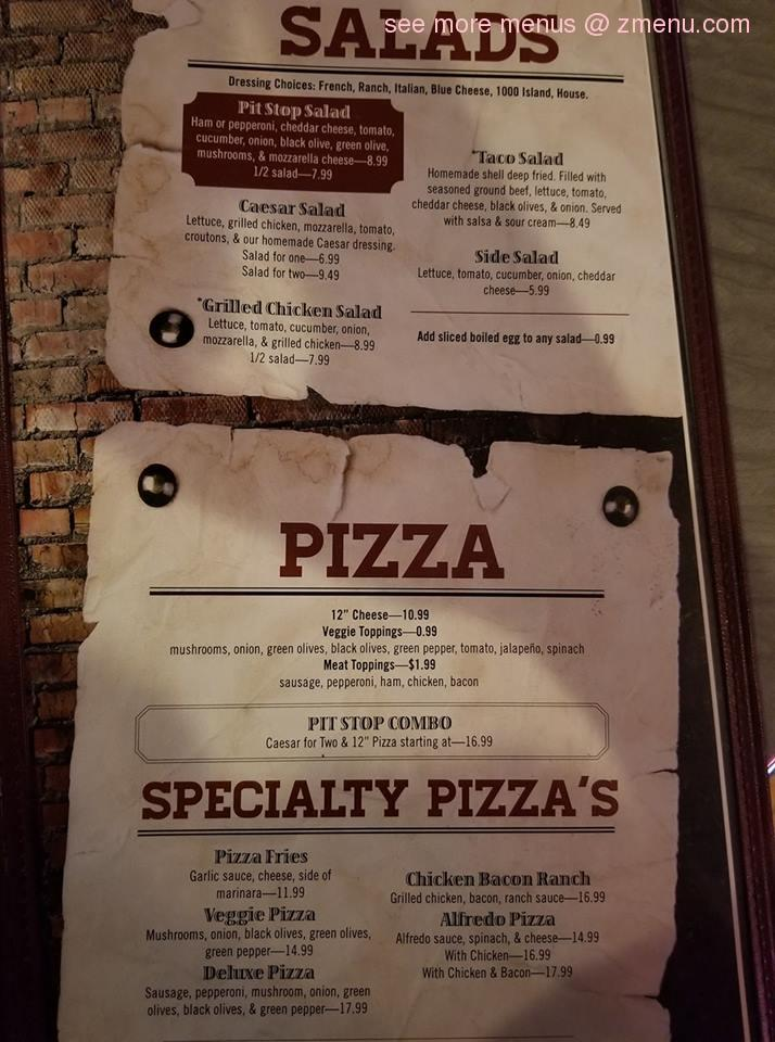 Online Menu of The Pit Stop Bar & Grill Restaurant ...