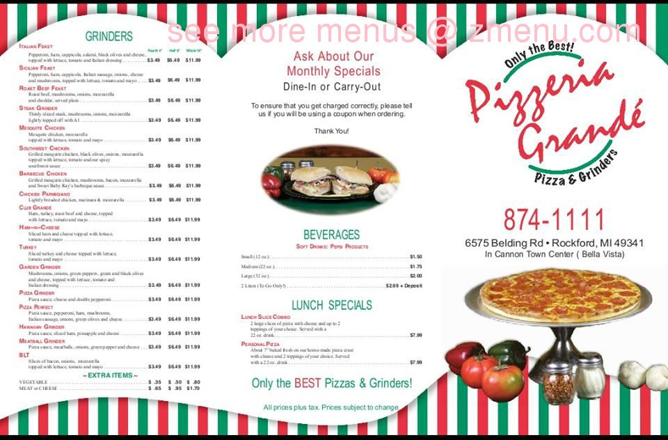 Online Menu of Pizzeria Grande Restaurant, Rockford, Michigan, 49341 Zmenu