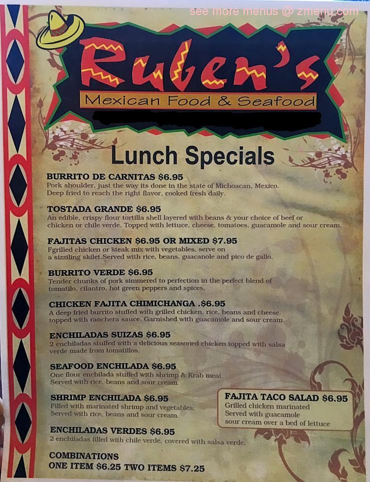 Ruben S Mexican Food Bakersfield Menu