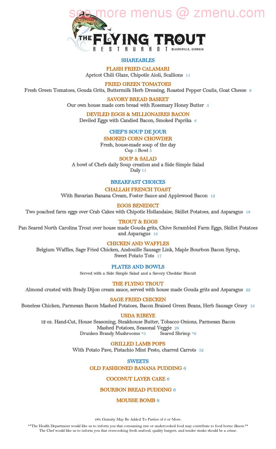 Online Menu Of Copperhead Lodge Restaurant Blairsville