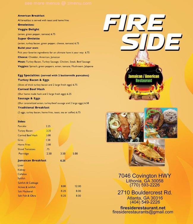 online menu of fireside jamaican restaurant restaurant