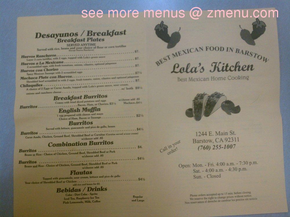Online Menu of Lola\'s Kitchen Restaurant, Barstow, California ...