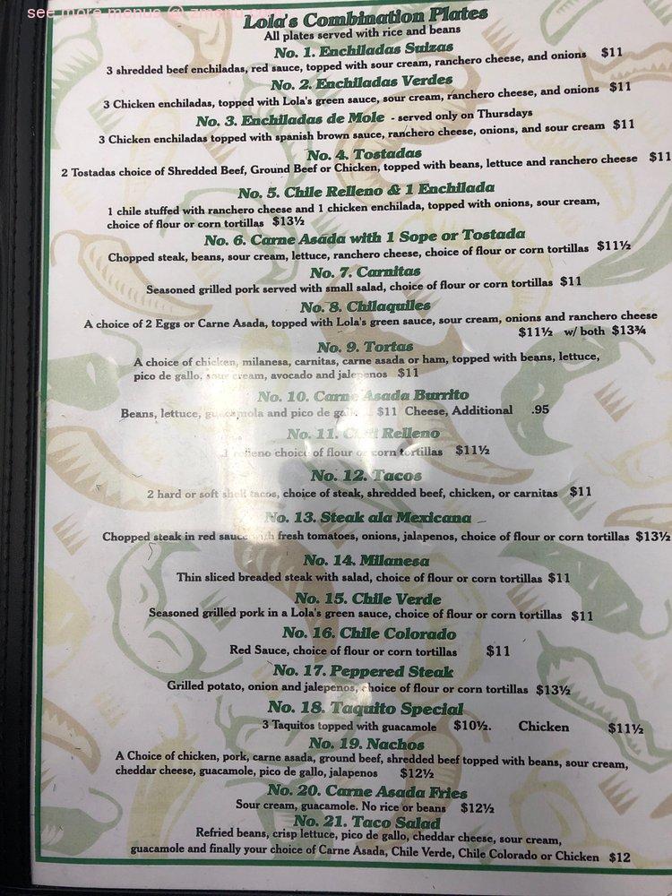 Online Menu Of Lolas Kitchen Restaurant Barstow California 92311 Zmenu