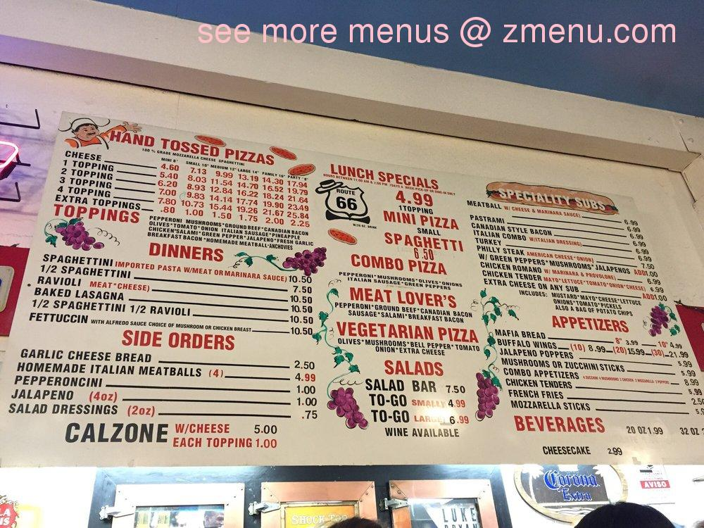Menu At Route 66 Pizza Palace Pizzeria Barstow